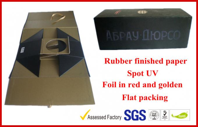 Foldable 1100G Rigid Board Wine Packaging Boxes , Rubber Finished Luxury Gift Boxes With Spot UV Logo