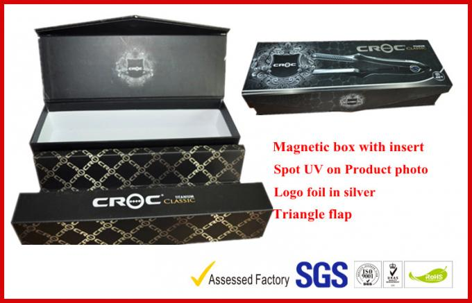 Safe Hair Straightener Electronics Packaging Boxes , Hot Stamping Coated Paper Packaging Box With Stand