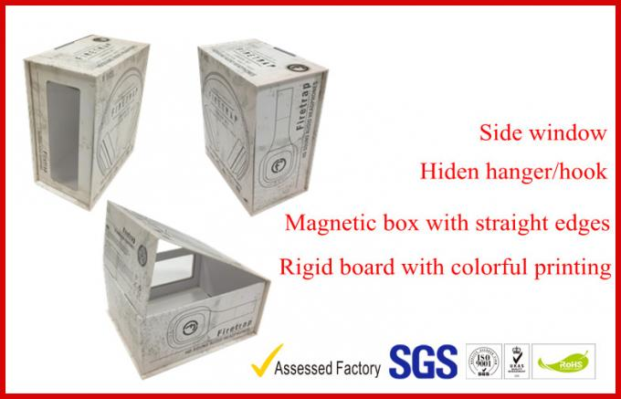 Magnetic Electronics Packaging Headphone Boxes , Hidden Hanger Color Paper Coated Packaging Box