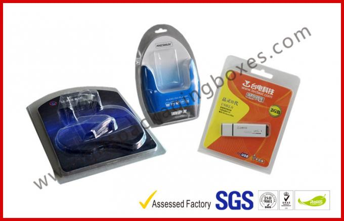 Folded Cable Transparent Plastic Clamshell Packaging For USB With Paper Insert