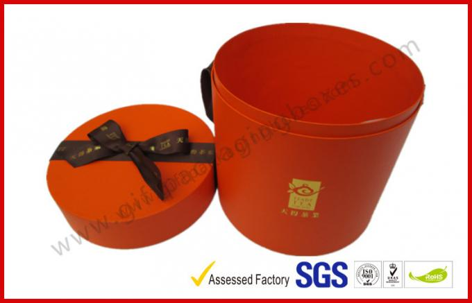 Round Luxury Gift Boxes / PVC Lamination Ribbon Gift Cylinder