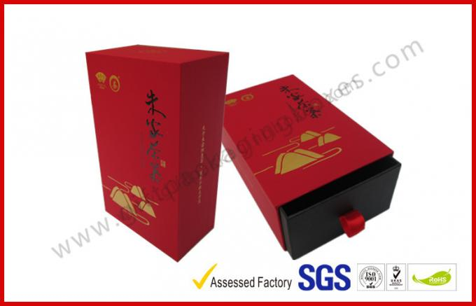 Soft Paper Luxury Gift Boxes / Drawer Tea Box with Hot stamp Logo in Gold