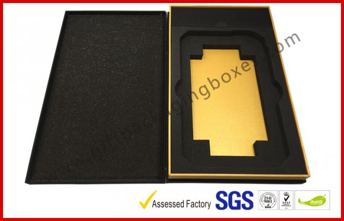 Matt Black special paper gift box for tablet with silver hot stamp logo EVA tray