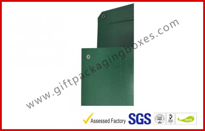 Leather Paper Material Magnet Folder Box , Green Color Office Storage Box