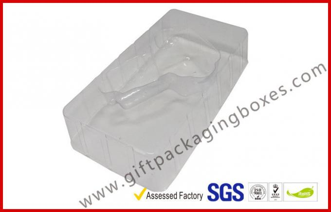 customized card board packaging box with clear PVC window paper hanger and blister tray inside