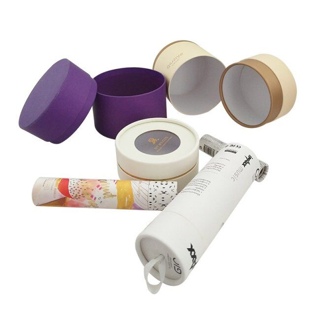 Eco Friendly Cardboard Gift Boxes Custom Beautiful Tube Packaging Matt Lamination Printing