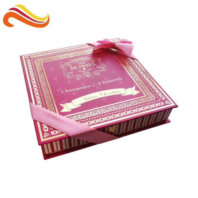 Custom Retail Luxury Chocolate Packaging Boxes Logo Printed Paper With Ribbon