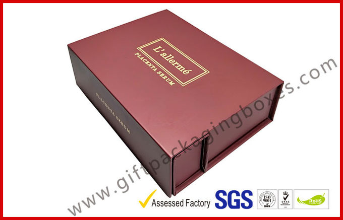Creative red color magnet gift packaging box with gold foil , EVA foam with black velet