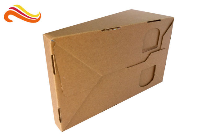 Brown Color Custom Corrugated Boxes Glossy Lamination Surface For Product Display