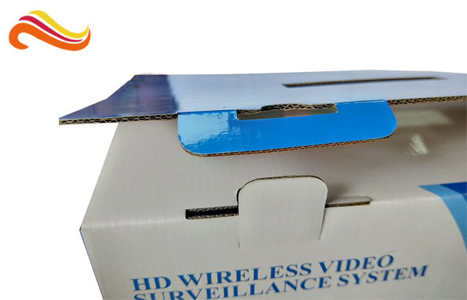 E- Flute Material Corrugated Paper Boxes Glossy Lamination Surface With Hanger