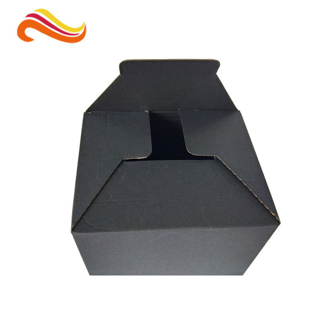 Black Color Cosmetic Packaging Box Single Wall Custom Printed Corrugated Material